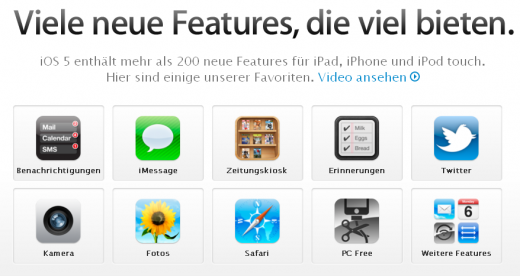 iOS 5: Feature-Beschreibungen jetzt auch auf Deutsch