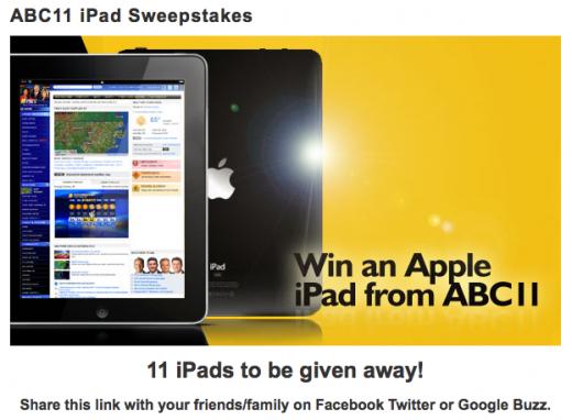 iPad Gewinnspiel bei ABC11 - ein klarer Verstoß gegen die Promotion-Richtlinien von Apple
