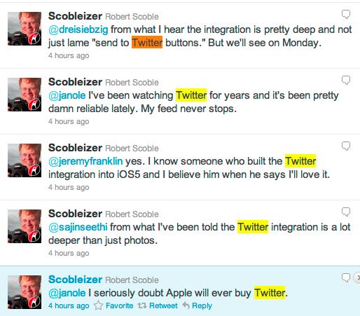 Robert Scoble twittert über iOS 5 und Twitter