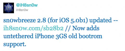 Sn0wbreeze 2.8b2: iOS 5.0b1 untethered Jailbreak für iPhone 3GS mit alter BootROM