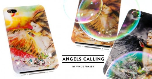White Diamonds Angels Calling Color Case mit Swarovski Steinen für iPhone 4