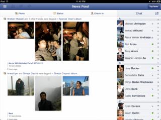 Screenshot: Facebook für iPad