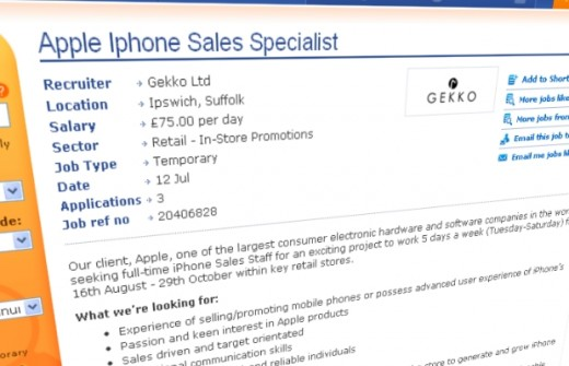 Jobanzeige: iPhone Verkaufsspezialisten gesucht