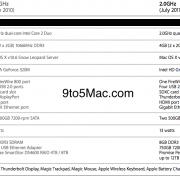 Tabelle: Vergleich der alten (2010) und neuen (2011) Mac mini server