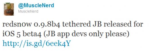 Redsn0w 0.9.8b4 - tethered Jailbreak für iOS 5.0b4