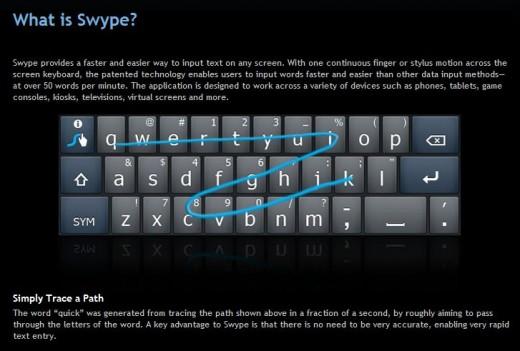 Swype: Schnellere Eingabe am Qwertz-Keyboard