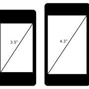 iPhone 4 mit 3,5 Zoll Display (links) und hypothetisches iPhone 5 mit 4,3 Zoll Display (rechts)