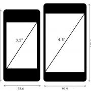 iPhone 4 mit 3,5 Zoll Display (links) und hypothetisches iPhone 5 mit 4,5 Zoll Display (rechts)