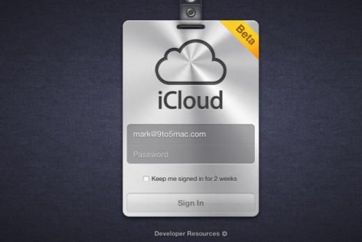 iCloud Login-Seite