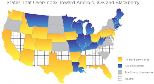 Jumptap: Die US-Bundesstaaten nach vorherrschendem mobilem Betriebssystem