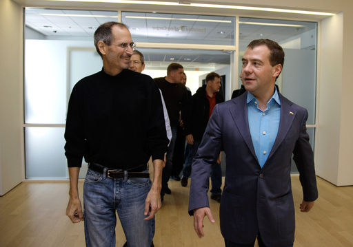 Dmitry Medvedev zu Besuch bei Steve Jobs