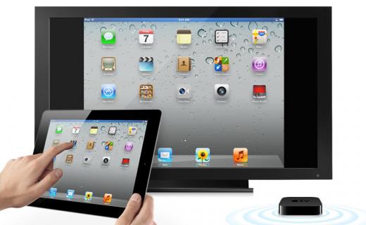 AirPlay Mirroring, gezeigt an einem iPad 2 und AppleTV