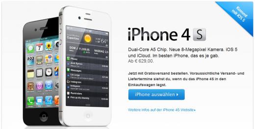iPhone 4S Verkaufsstart in Österreich, Schweiz und 20 weiteren Ländern