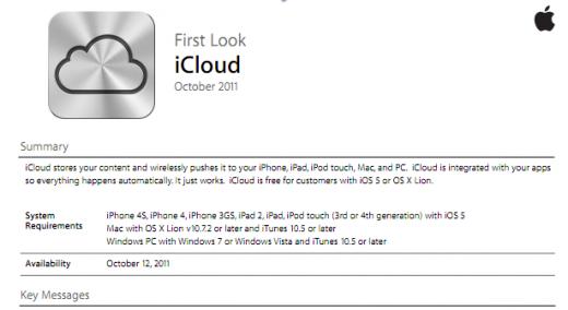 iOS 5 und iCloud: Offizielle Dokumente für Apple-Angestellte