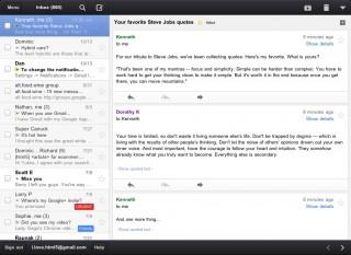 Split-Screen Ansicht für Email-Liste und aktuelle Unterhaltung, mit der neuen Gmail App für iPhone & iPad (nur am iPad)