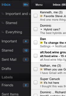 Ein Swipe nach rechts bringt die Label-Liste ins Bild. (Gmail-App für iPhone und iPad)