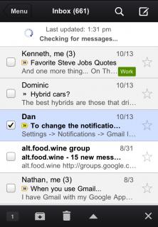 Schnelles Aktualisieren der Mailbox durch Nach-Unten-Ziehen der Mail-Liste (Gmail-App für iPhone und iPad)