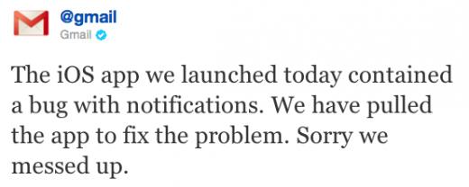 Gmail: App mit Bug