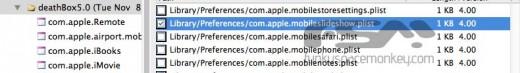 """4. Schritt: Nach dem Eintrag """"Library/Preferences/com.apple.mobileslideshow.plist suchen und die Datei öffnen."""