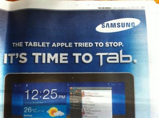 "Samsung Galaxy Tab Werbung aus Australien: ""The tablet Apple tried to stop"""