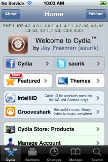 "1. Schritt: Cydia am Homescreen des iDevices starten, und den ""Search"" Tab unten rechts auswählen."