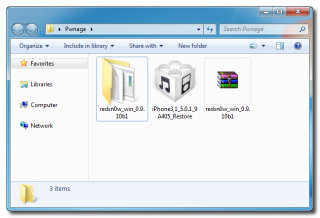"""1. Schritt: Erstelle einen Ordner """"Jailbreak"""" am Desktop (oder in einem beliebigen Pfad; im Bild ist es der Ordner """"Pwnage""""), und lade dort RedSn0w 0.9.10 und die passende iOS 5.0.1 Firmware-Datei hinein."""