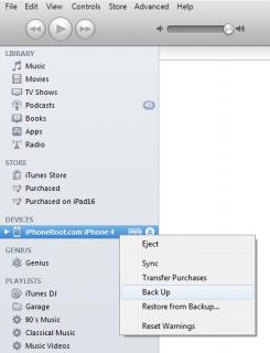 """2. Schritt: Erstelle ein vollständiges Backup. Dazu (1) entweder iTunes starten, das angeschlossene Gerät in der Übersicht links auswählen, und nach Rechtsklick auf """"Backup erstellen"""", (2) oder durch die iCloud über """"Einstellungen"""" - """"iCloud"""" - """"Speicher & Backup"""" - """"Backup jetzt erstellen""""."""