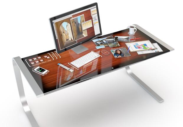 Idesk konzept apple touch schreibtisch voller hightech for Tisch iphone design