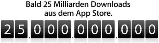 """iTunes: Countdown für 25. Mrd """"App-Download"""" gestartet"""