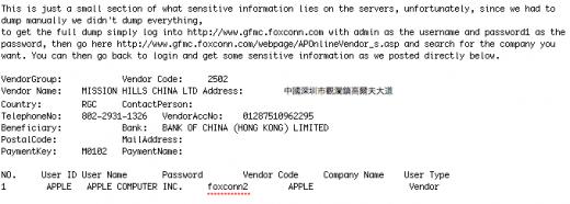 Foxconn Server gehackt, Accounts von Apple und weiteren Kunden ausgelesen