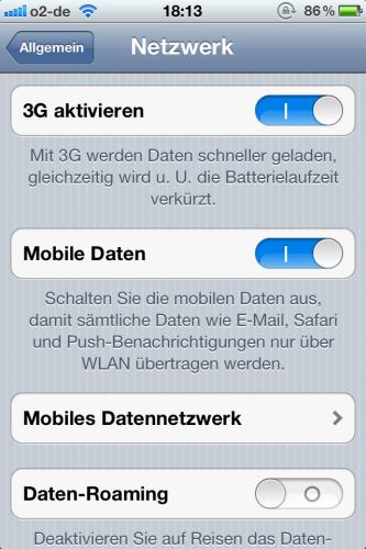 """Apple iOS 5.1: """"3G aktivieren""""-Schalter wieder vorhanden"""