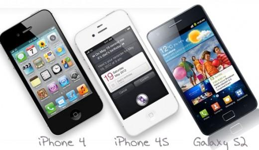 iPhone 4, iPhone 4S und Galaxy S2 - ob sich auch iPhone 5 und Galaxy S3 wieder ein Kopf-an-Kopf-Rennen liefern?