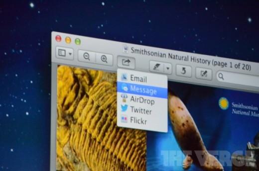 Mac OS X 10.8 Mountain Lion bringt neuen Sharing-Button