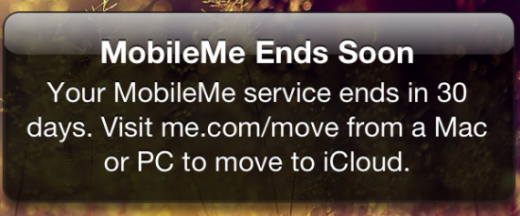 MobileMe: Apple warnt per Push vor Serviceeinstellung