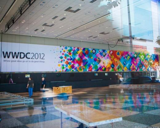Vorbereitungen zur WWDC 2012 (Foto: CNET)
