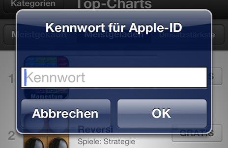 iOS 6: Passworteingabe weiterhin vorhanden