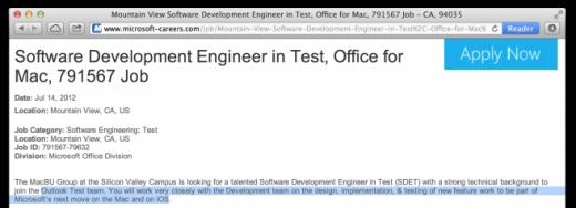 Microsoft Office: Job-Angebote verraten iOS-Version