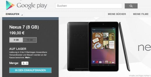 Google Nexus 7: Ab sofort in Deutschland verfügbar