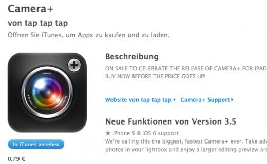Camera+ für iPad im App Store zu finden
