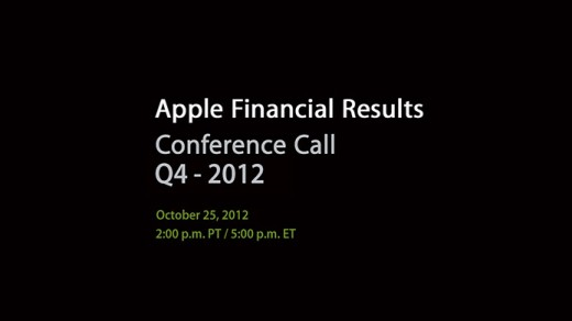 Apple Quartalszahlen für Q4 2012: Präsentation am 25. Oktober