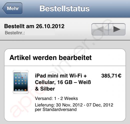 iPad mini LTE: Lieferung erst gegen Anfang Dezember
