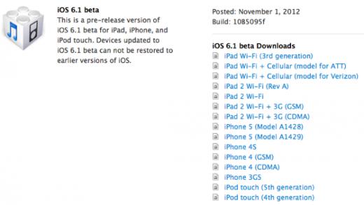 iOS 6.1 Beta: Entwickler bekommen Testversion
