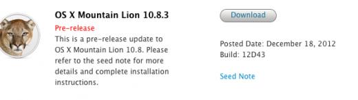 OS X 10.8.3: Build 12D43 an Entwickler freigegeben