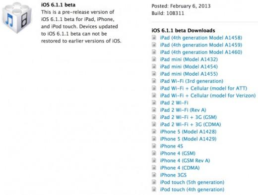 iOS 6.1.1: Apple veröffentlicht erste Beta