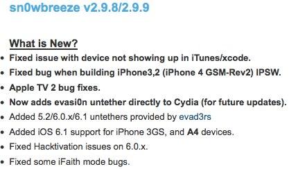 Sn0wbreeze 2.9.9: iOS 6.1 Jailbreak aktualisiert