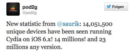 evasi0n iOS 6 Jailbreak hat bislang 14 Millionen Devices geknackt