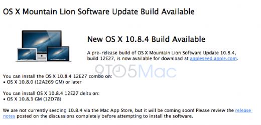 OS X 10.8.4 Beta an Entwickler ausgegeben