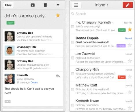 GMail für iOS: Karten, Chrome und Linkunterstützung Youtube