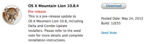 OS X 10.8.4: Build 12E55 für Entwickler veröffentlicht