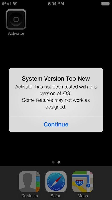 iOS 7 Jailbreak: Activator auf Screenshot zu sehen